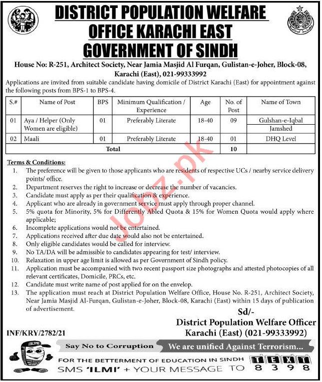 District Population Welfare Office Karachi East Jobs 2021