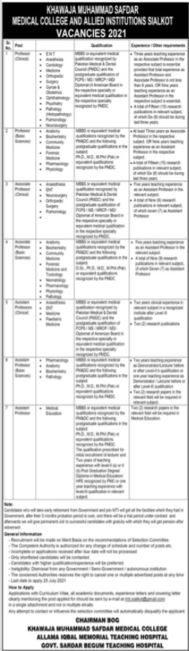 KMSMC Allied Institutions Sialkot  Faculty Staff Jobs 2021