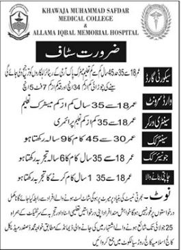 Allama Iqbal Memorial Hospital Management Staff Jobs 2021