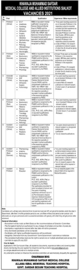 Faculty Staff Jobs in KM Safdar Medical College