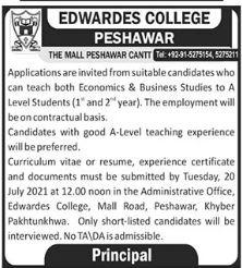 Edwardes College Peshawar Teaching Faculty Jobs 2021
