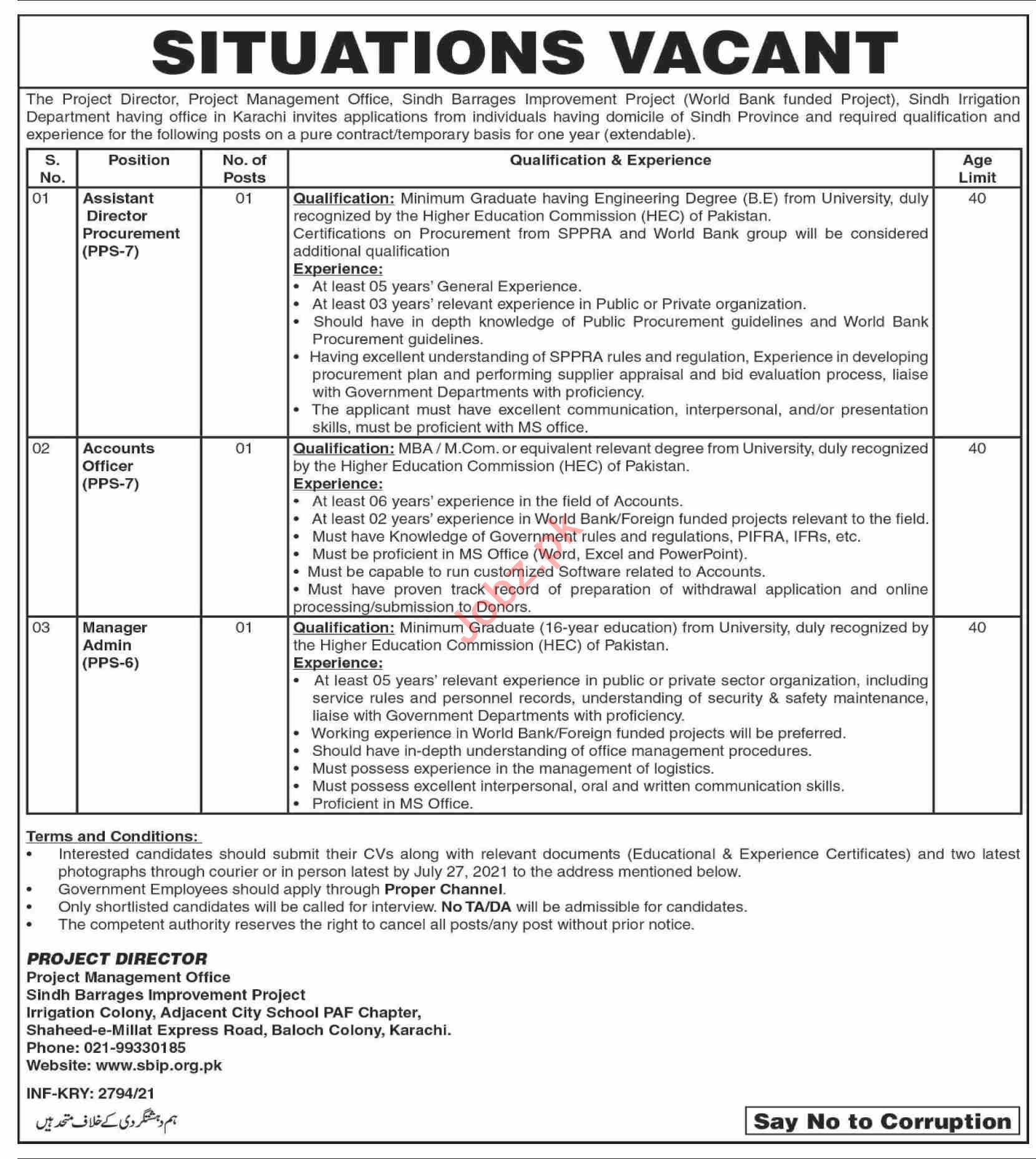 Sindh Barrages Improvement Project Jobs 2021 for Director