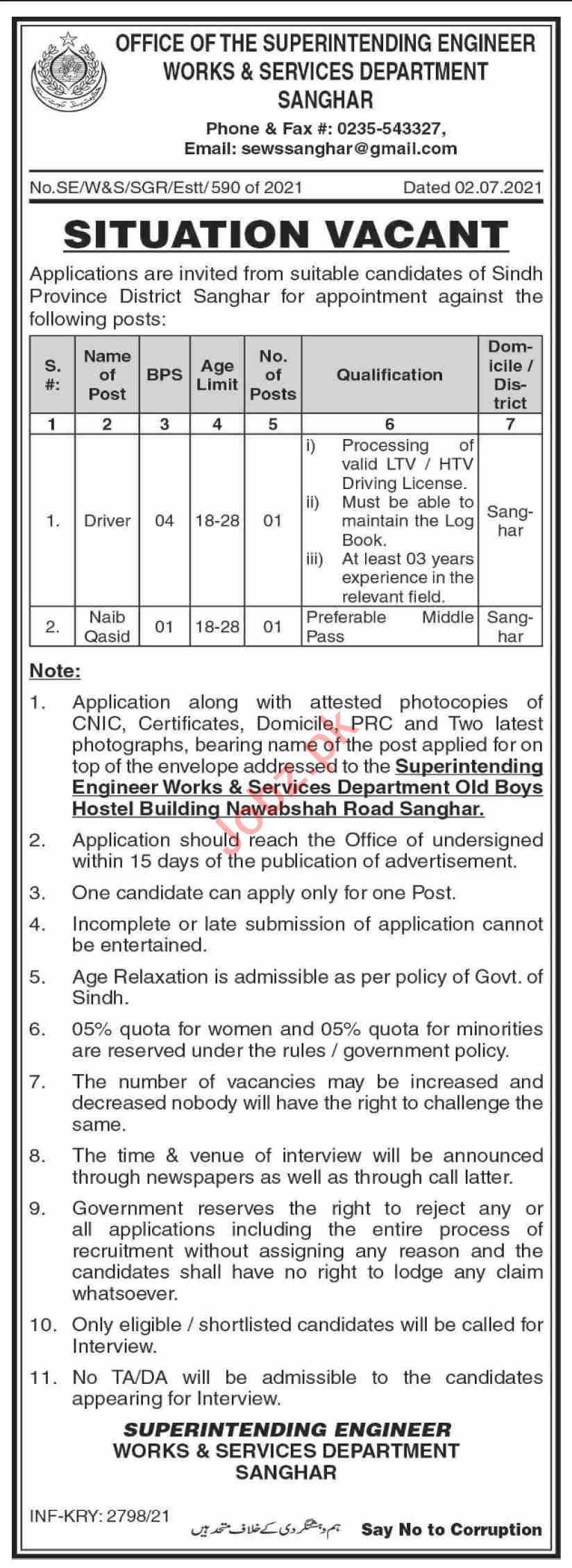 Works & Services Department Sanghar Jobs 2021