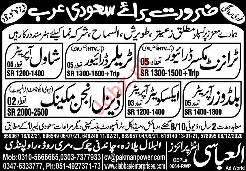 Transit Mixer Driver & Shawl Operator Jobs 2021 Saudi Arabia