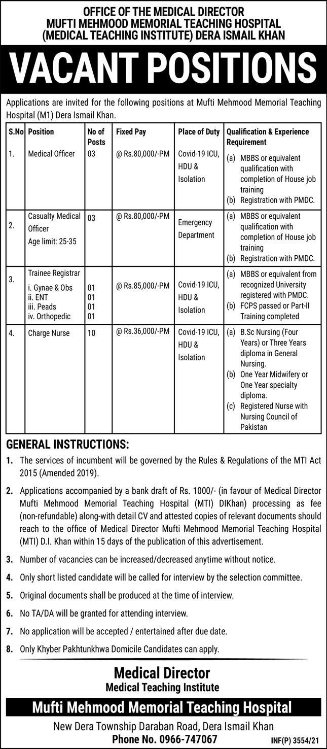 Mufti Mehmood Memorial Teaching Hospital DI Khan Jobs 2021
