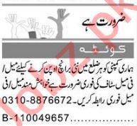 Data Entry Operator & Receptionist Jobs 2021 in Quetta