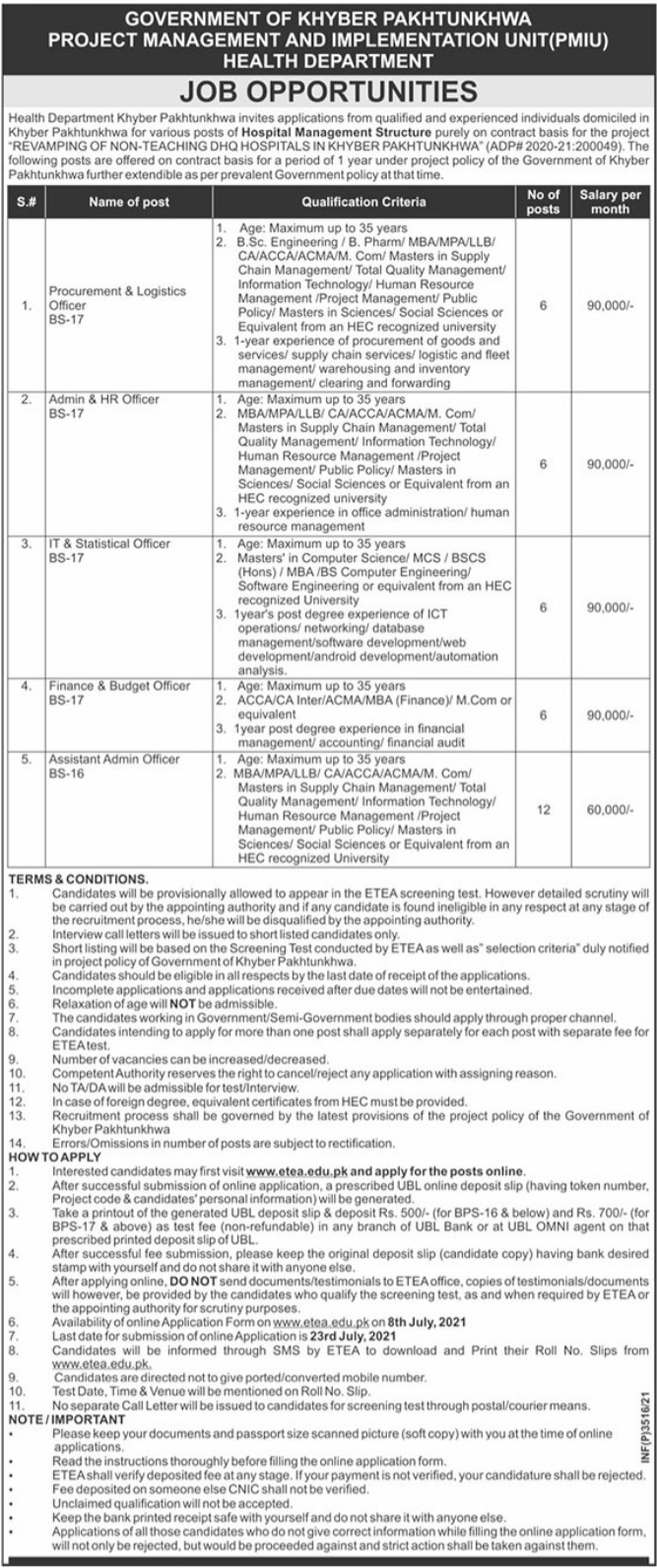 KP Health Department Latest Jobs 2021