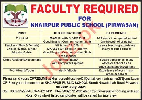 Khairpur Public School Pirwasan Jobs 2021 for Teachers
