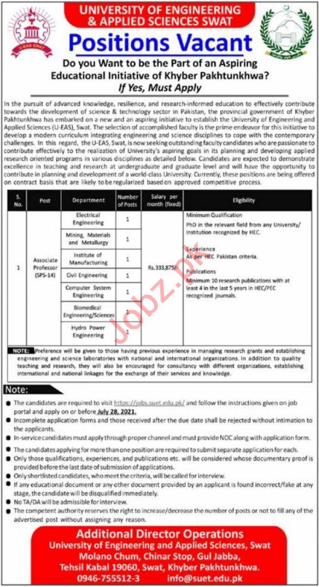 University of Engineering & Applied Sciences Swat Jobs 2021