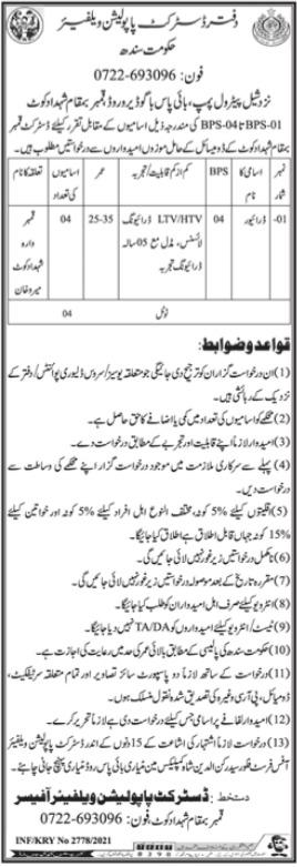 District Population Welfare Office Shahdadkot Jobs 2021
