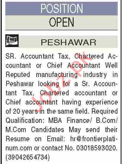 Senior Accountant & Chartered Accountant Jobs 2021