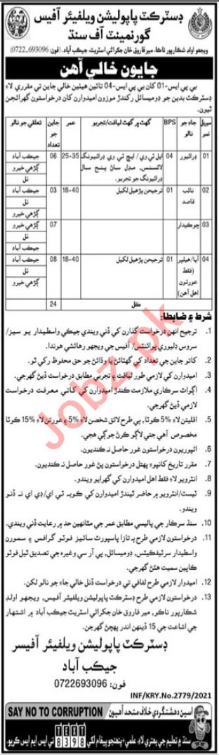 District Population Welfare Office PWD Jacobabad Jobs 2021