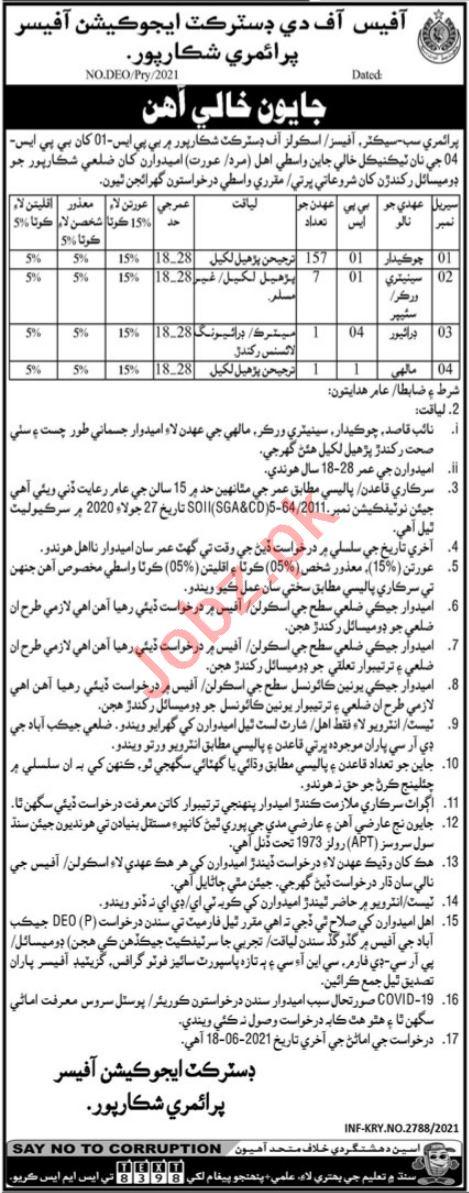 District Education Officer Primary Shikarpur Jobs 2021