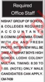 Nishat Group of Schools & Colleges Multan Jobs 2021 Teachers