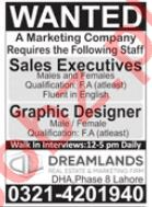 Dream Lands DHA Lahore Jobs 2021 for Sales Executives