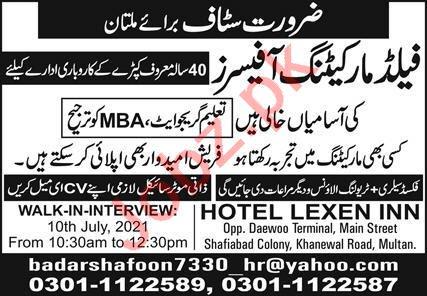 Hotel Lexen Inn Multan Jobs 2021 for Marketing Officer