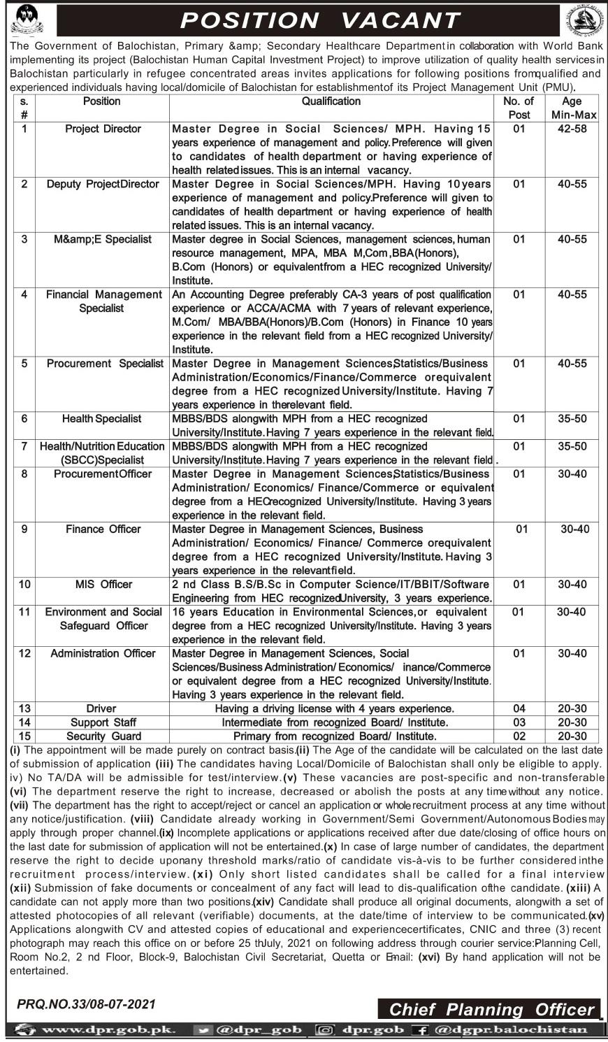Primary & Secondary Healthcare Department Balochistan Jobs