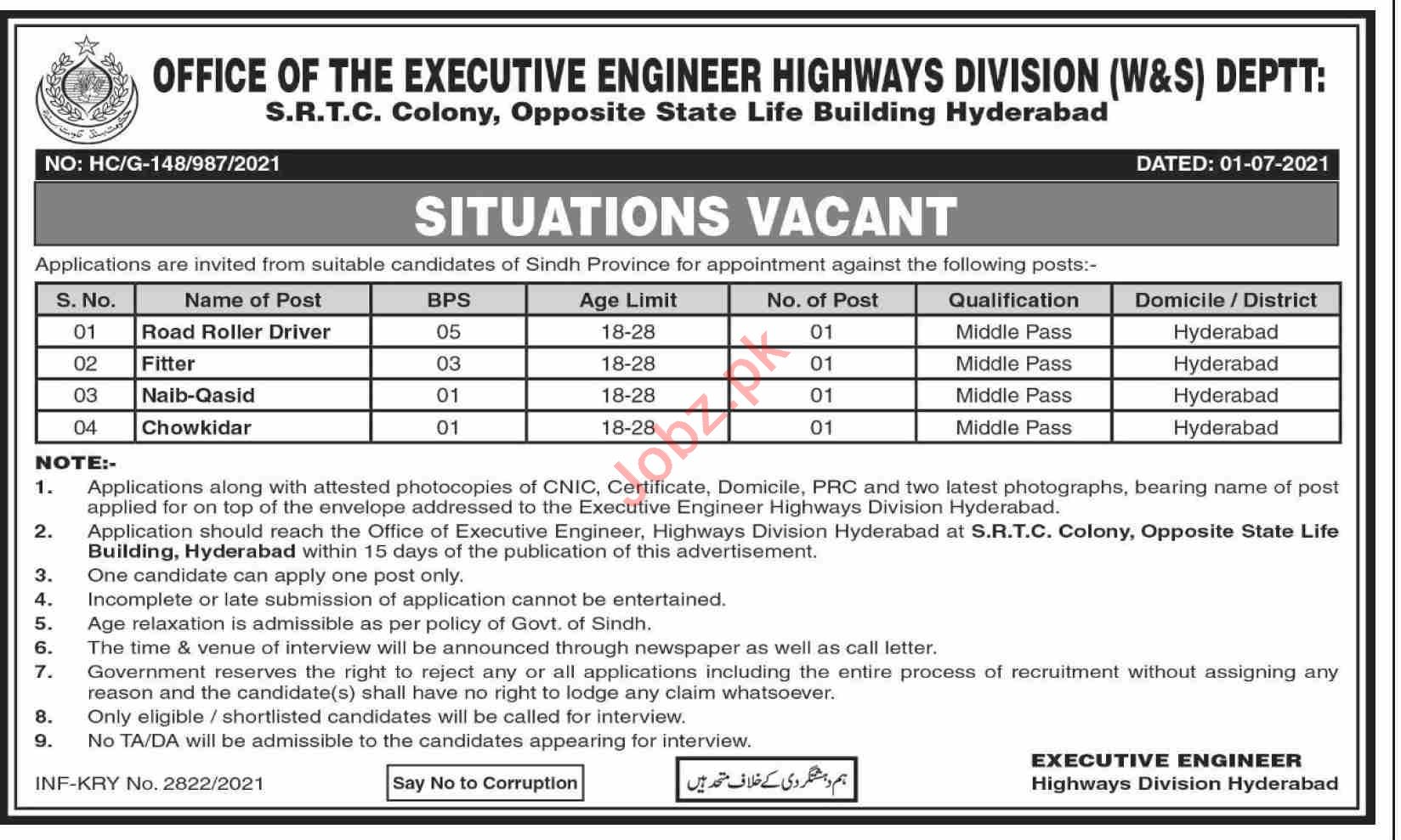Provincial Highway Division W&S Department Hyderabad Jobs