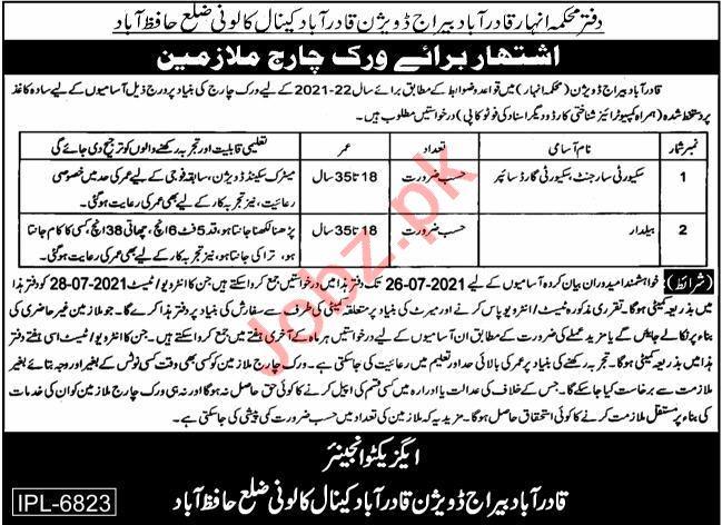 Qadirabad Barrage Qadirabad Canal Division Hafizabad Jobs