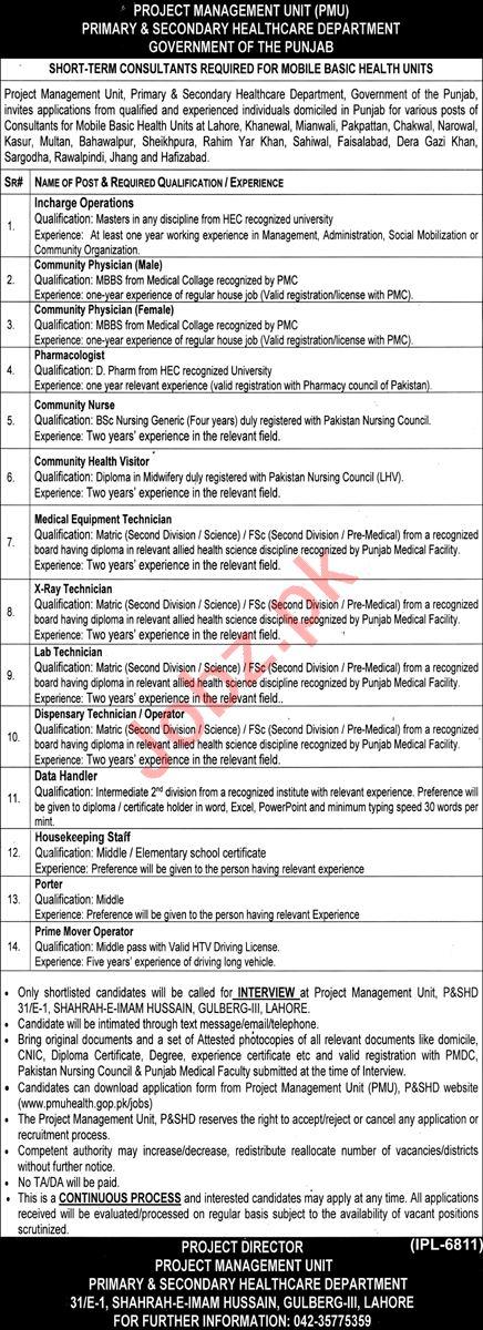 Mobile Basic Health Units PHFMC Punjab Jobs 2021