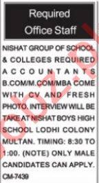 Nishat Group of Schools & Colleges Multan Jobs Accountant