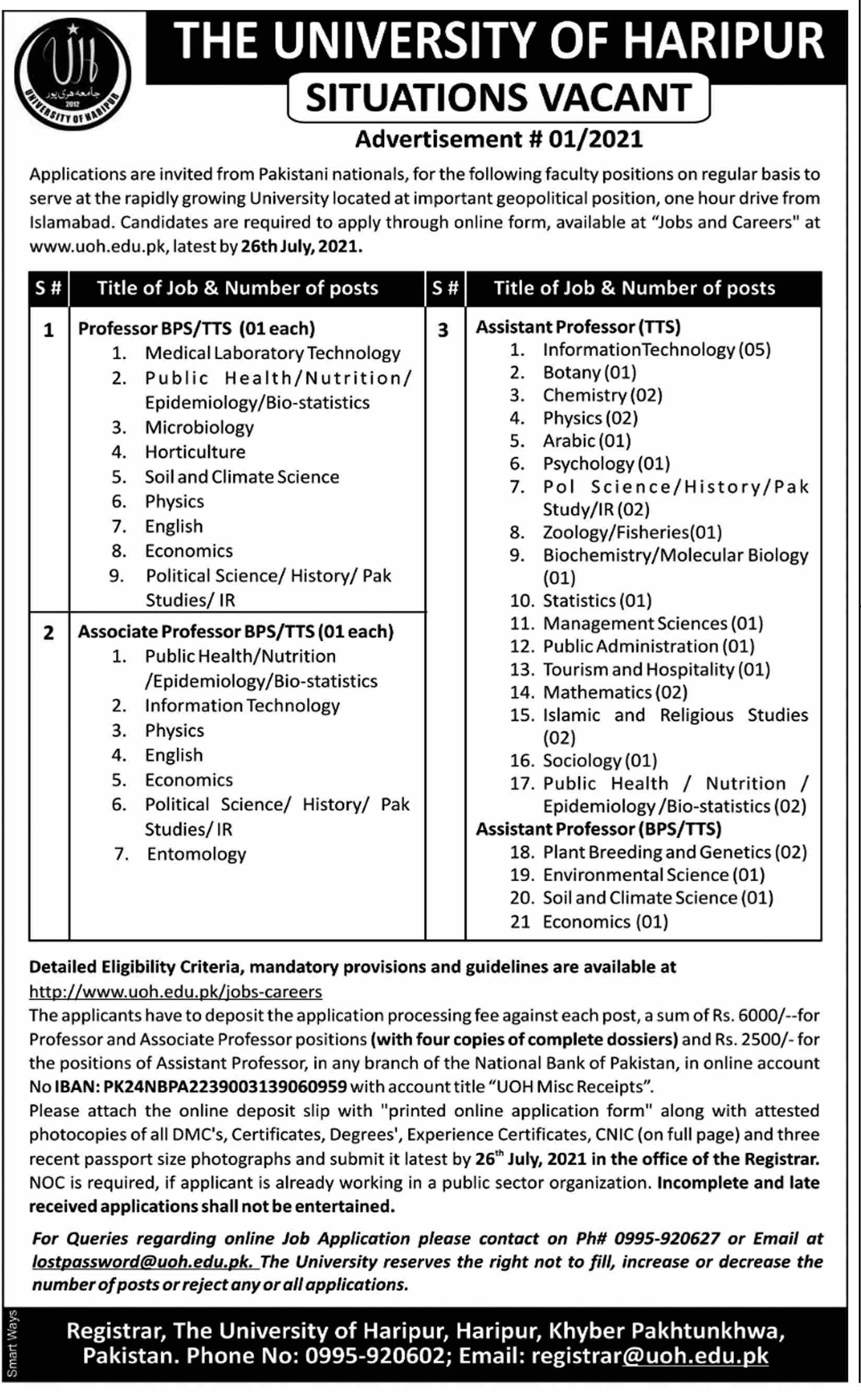 The University of Haripur Faculty Staff Jobs 2021