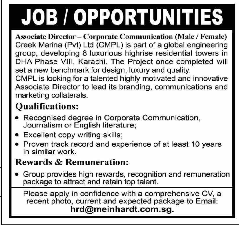 Creek Marina Associate Director Corporate Communication Jobs