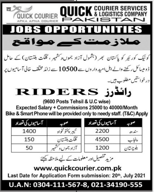 Quick Courier & Delivery Service Jobs 2021 For Riders