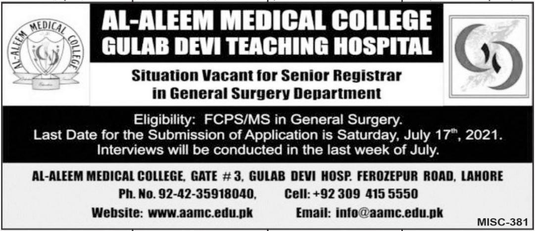 Al Aleem Medical College Gulab Devi Teaching Hospital Jobs