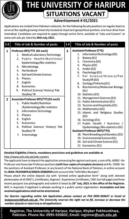 Faculty Staff Jobs in The University of Haripur