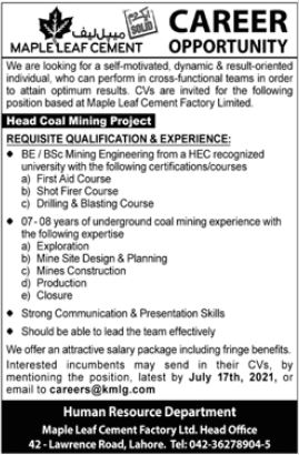 Maple Leaf Cement Factory Jobs 2021 For Engineering Staff