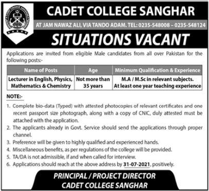 Cadet College Sanghar Lecturer Jobs 2021