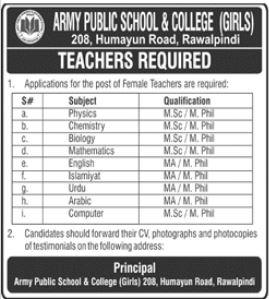 Army Public School & College Jobs 2021 For Teaching Staff