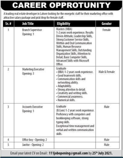 Real Estate Developer Jobs 2021 In Lahore