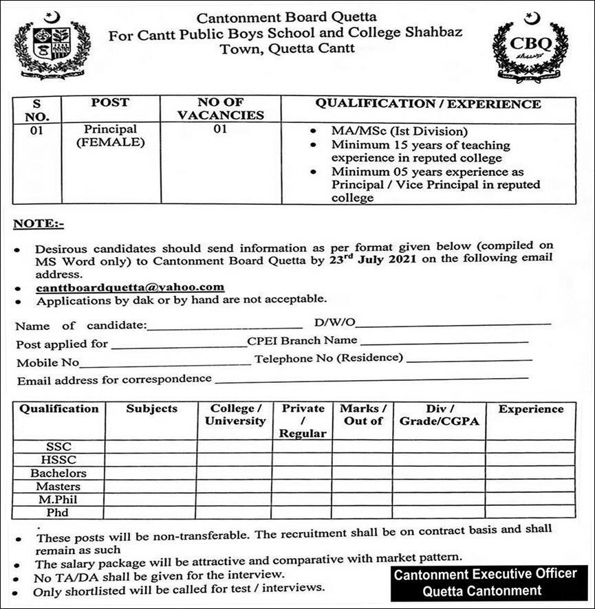 Cantt Public Boys School & College Jobs 2021 in Quetta