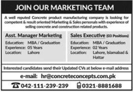 Concrete Concepts Pvt Limited Jobs 2021 For Marketing Staff