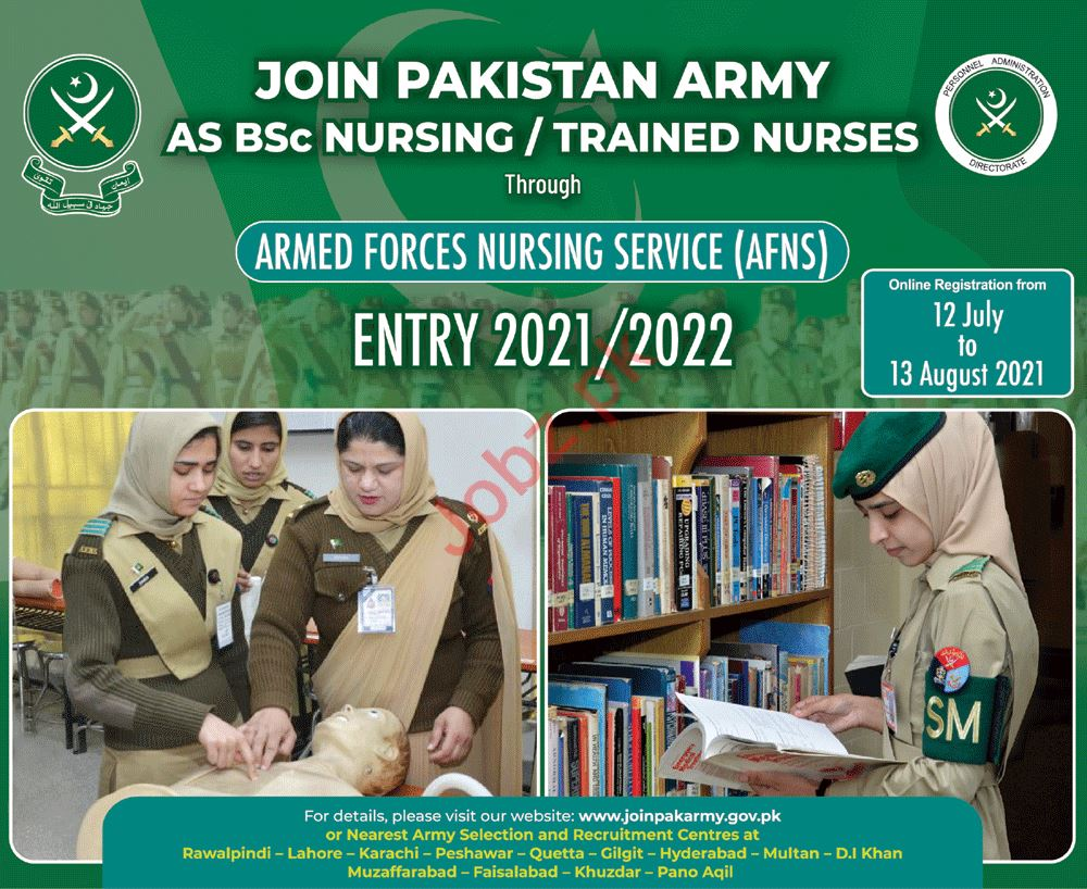 Join Pakistan Army as BSc Nursing AFNS Entry 2021