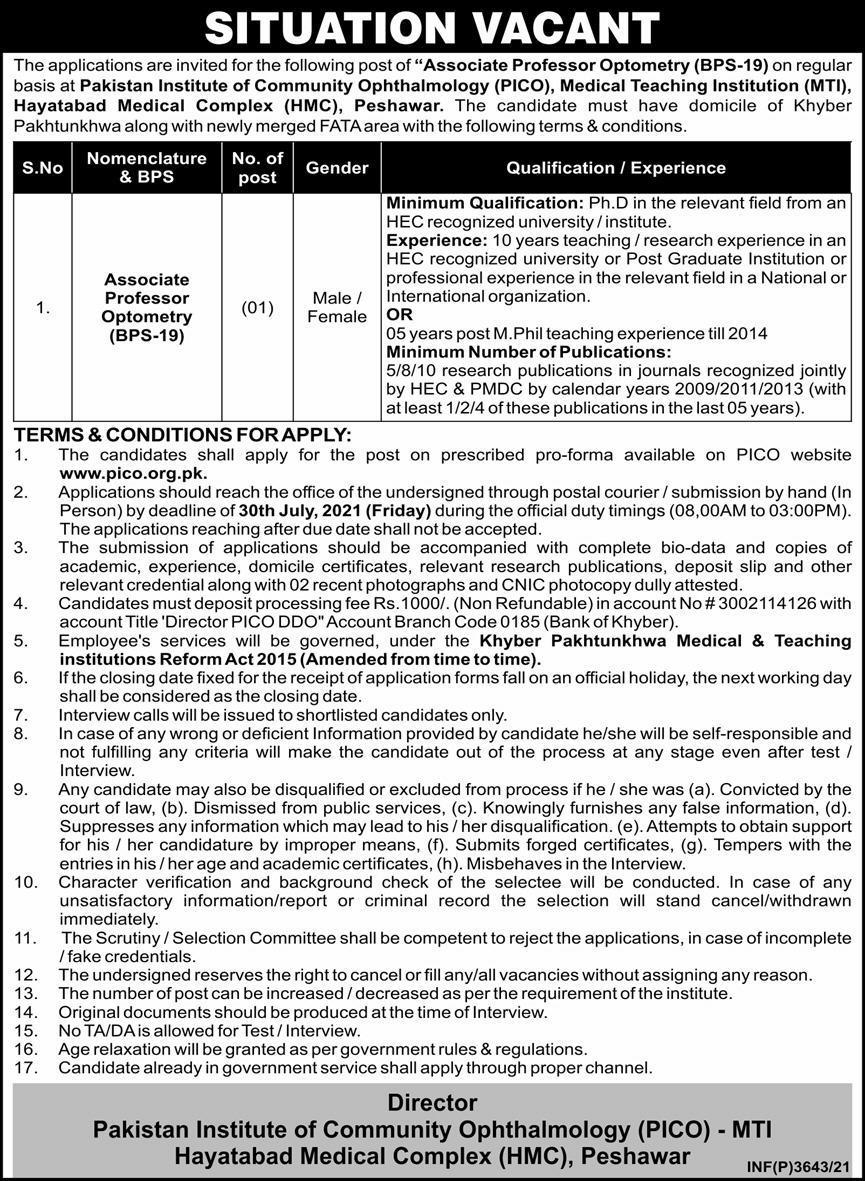 Associate Professor Optometry Jobs in PICO Peshawar