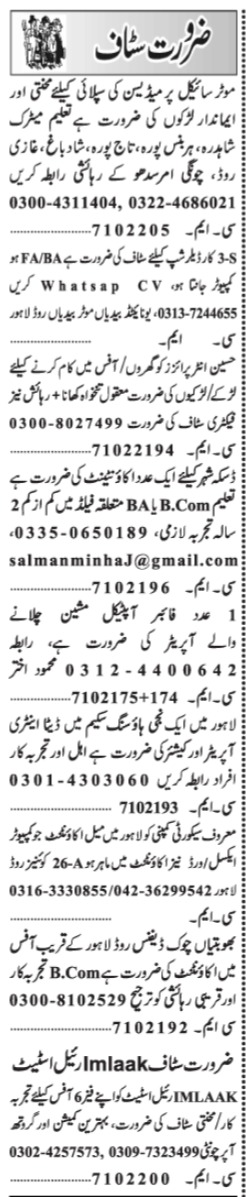 Accountant Machine Operator Data Entry Operator Jobs in Laho