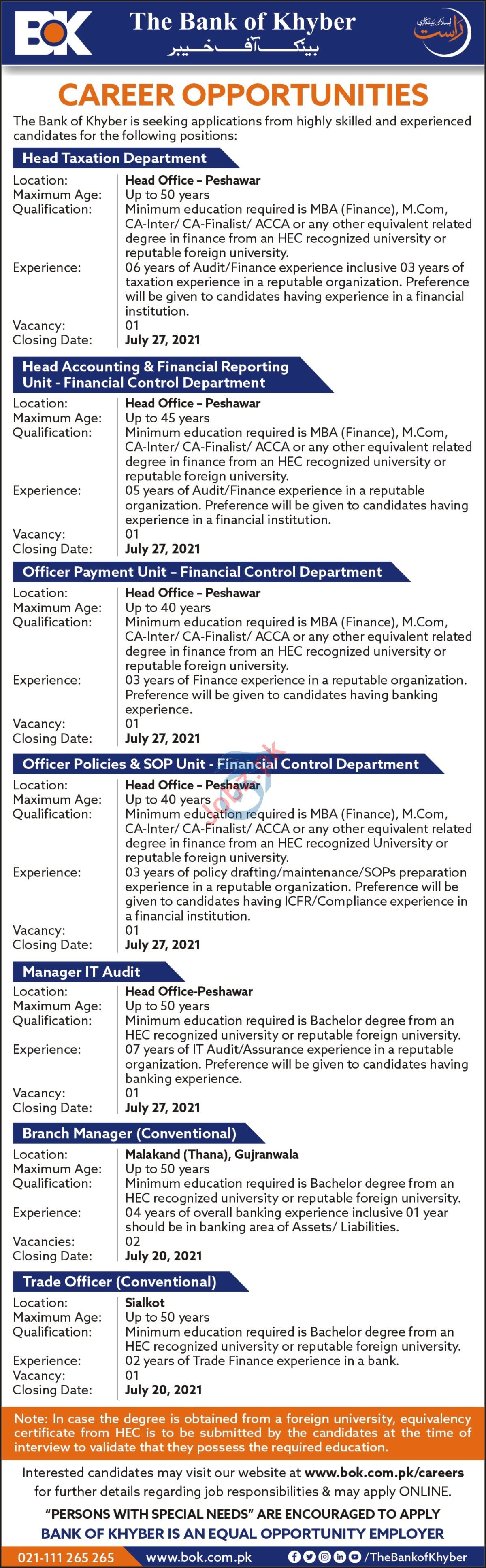 The Bank of Khyber BOK Jobs 2021 for Manager & Trade Officer