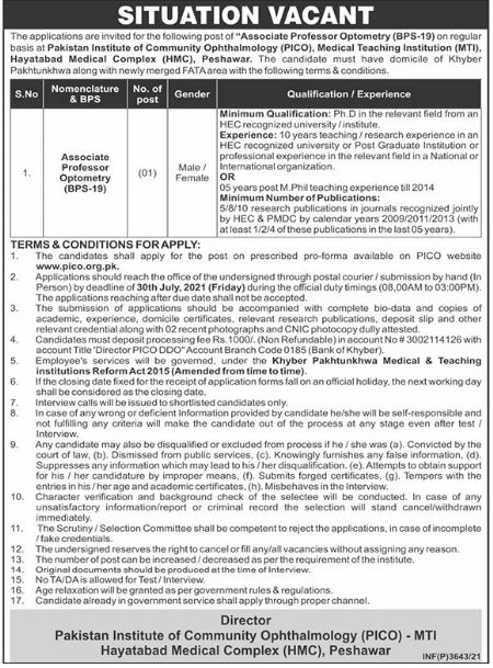 Pakistan Institute of Community Ophthalmology Jobs 2021