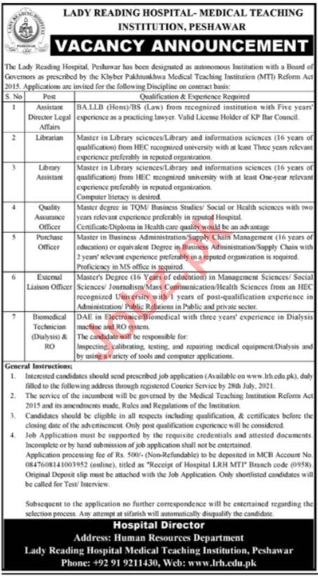 Lady Reading Hospital LRH MTI Peshawar Jobs 2021