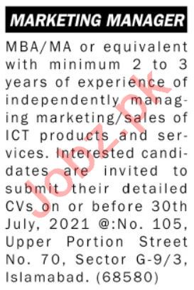 Marketing Manager & Sales Manager Jobs 2021 in Islamabad