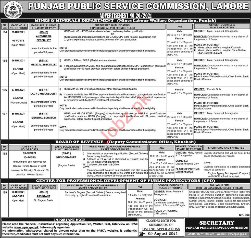 Punjab Public Service Commission PPSC Lahore Jobs 2021