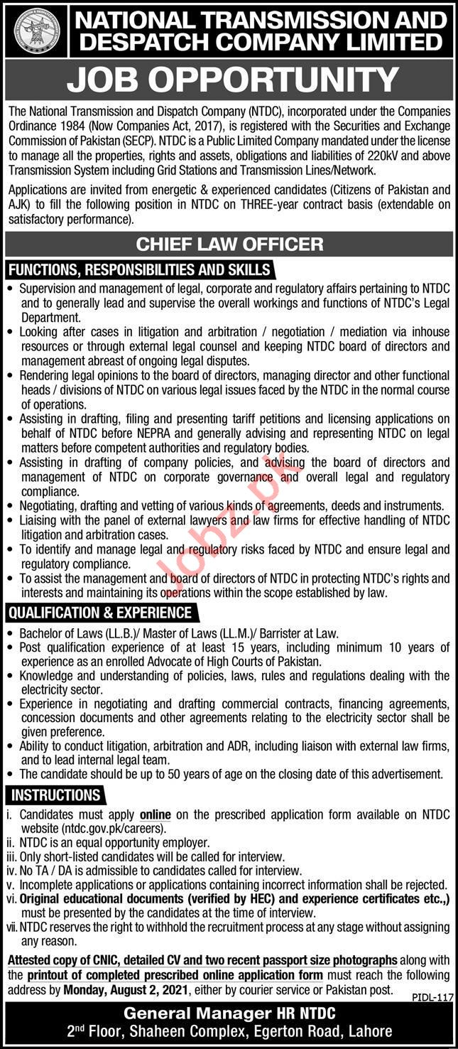 National Transmission & Despatch Company NTDC Lahore Jobs