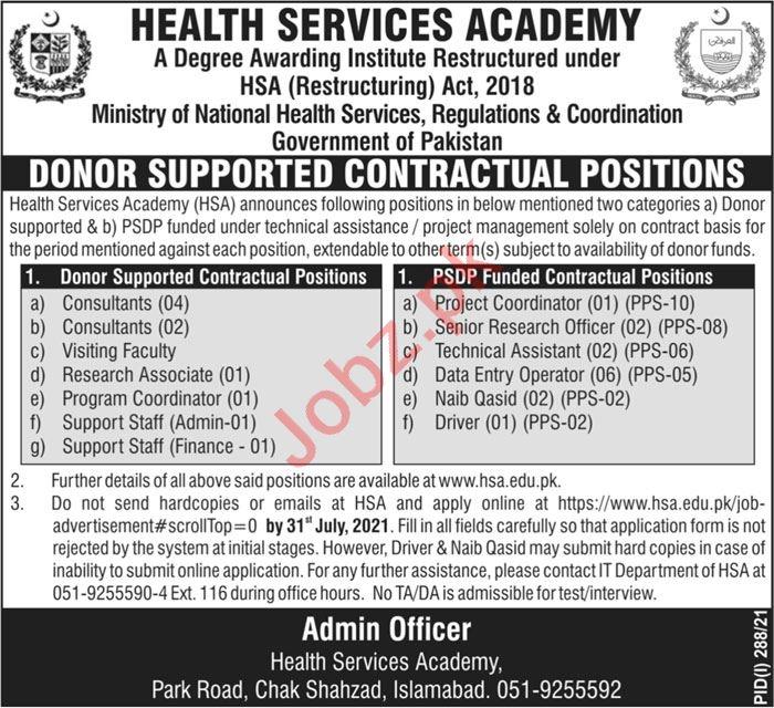 Health Services Academy HSA Islamabad Jobs 2021 Professors