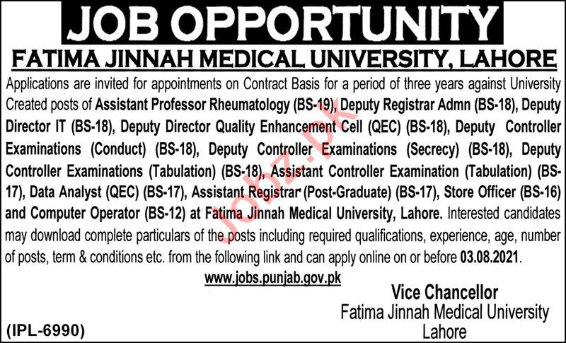 Fatima Jinnah Medical University Lahore Jobs 2021 Professors