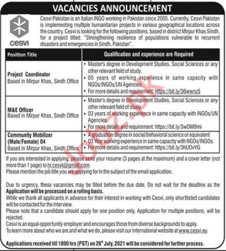 Cesvi Pakistan Jobs 2021 for Project Coordinator