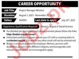 Bedari Civil Society Organization Multan Jobs 2021