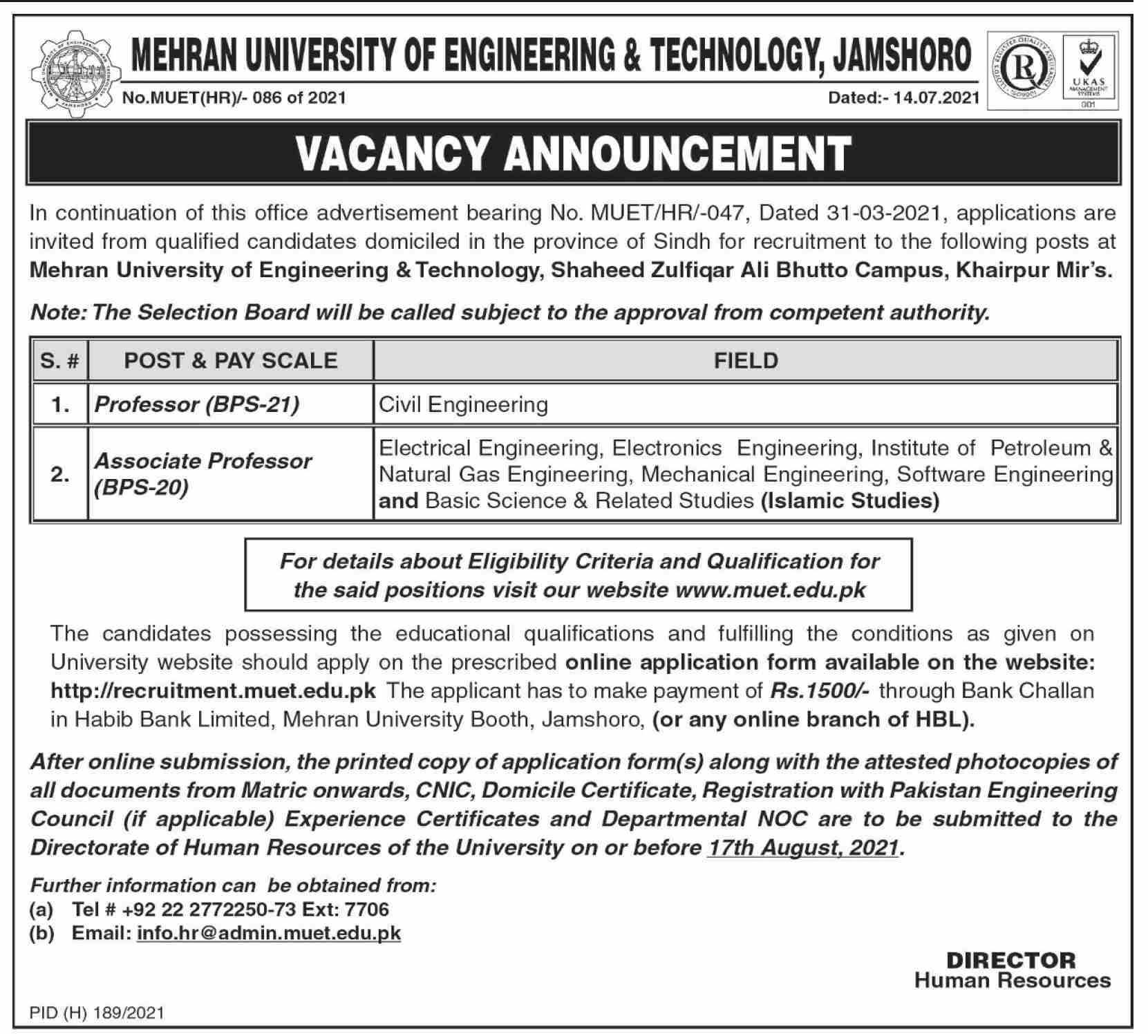 Mehran University of Engineering Faculty Staff Jobs 2021